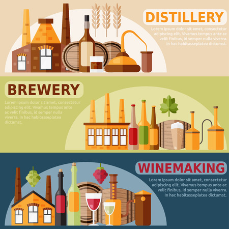 flat design horizontal on distillery,winemaking and brewery theme 矢量图片