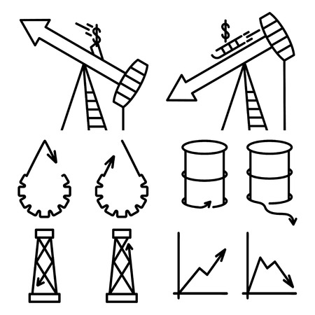 rise fall: fall and rise in oil prices set design template Illustration
