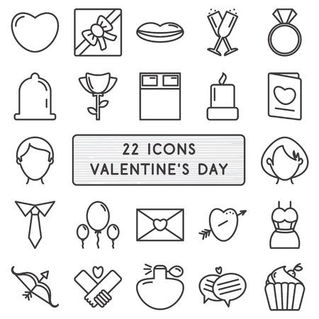 carta de amor: Conjunto de 22 iconos de estilo monoline para el d�a de San Valent�n feliz Vectores