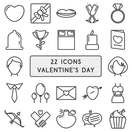 diamond letter: Set of 22 icons in style monoline for Happy Valentines Day