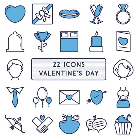 carta de amor: Conjunto de 22 iconos de estilo monoline para el día de San Valentín feliz. Vectores
