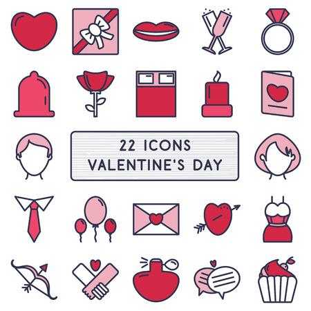 letter envelopes: Conjunto de 22 iconos de estilo monoline para el d�a de San Valent�n feliz. Vectores
