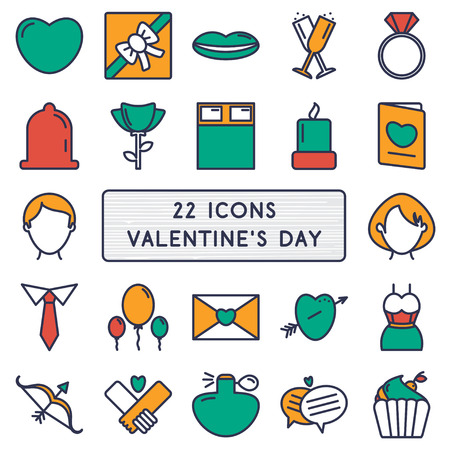 letter envelope: Set of 22 icons in style monoline for Happy Valentines Day.