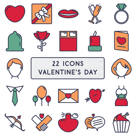 diamond letter: Set of 22 icons in style monoline for Happy Valentines Day.