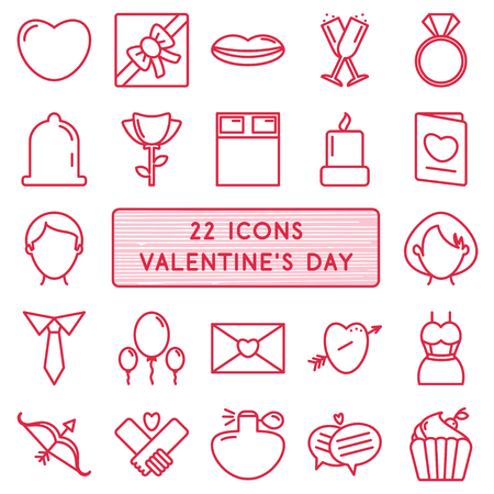 diamond candle: Set of 22 icons in style monoline for Happy Valentines Day.