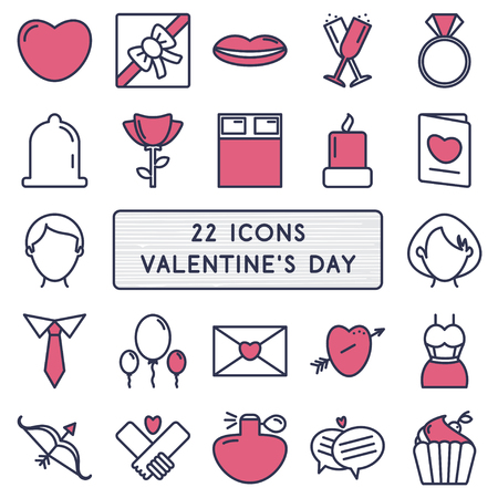 ring of fire: Set of 22 icons in style monoline for Happy Valentines Day.