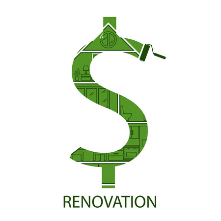 tools construction: Illustration of concept symbol dollar with house renovation. Vector
