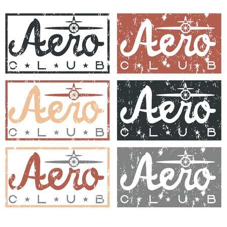 aero: aero club quote on vintage grunge labels set Illustration