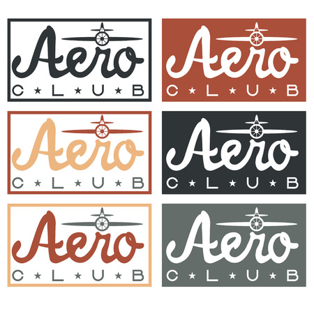 aero: aero club quote on vintage labels set