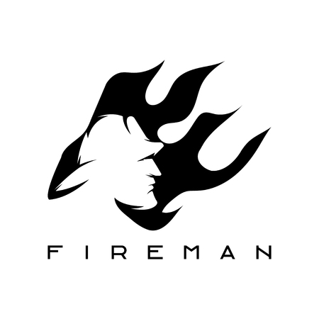 fireman: fireman in flame abstract design template Illustration