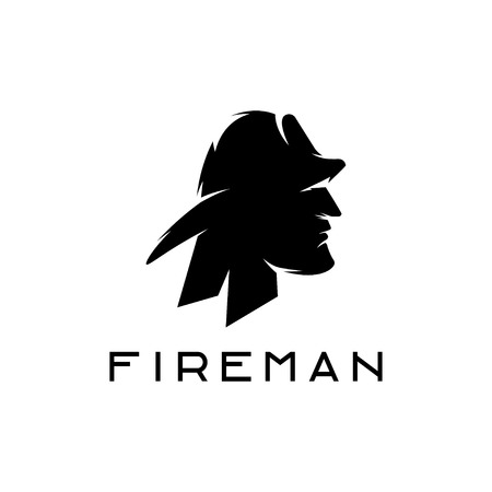 fireman: silhouette of fireman abstract design template