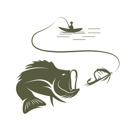 largemouth: illustration of fisherman in a boat and largemouth bass