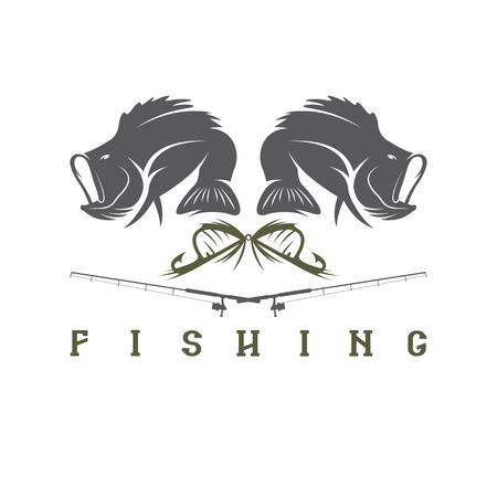 minnow: vector design template of vintage fishing emblem