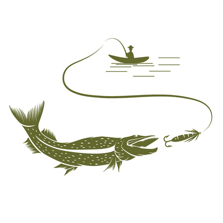 pike: illustration of fisherman in a boat and pike