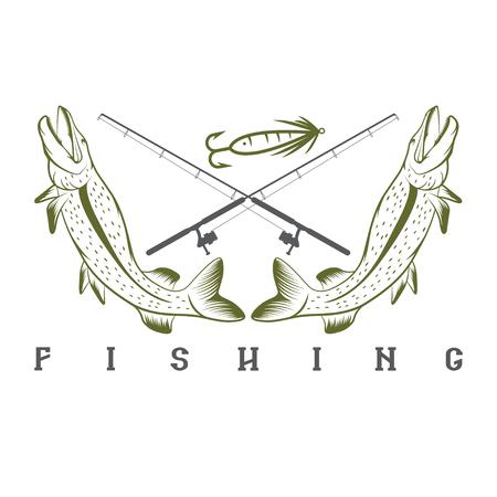 largemouth: vector design template of vintage fishing emblem