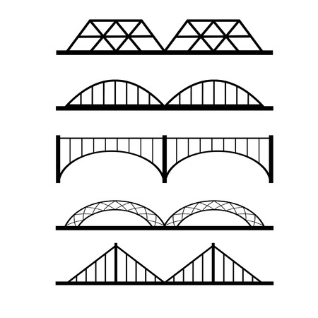 balustrade: Vector set of different bridges connection