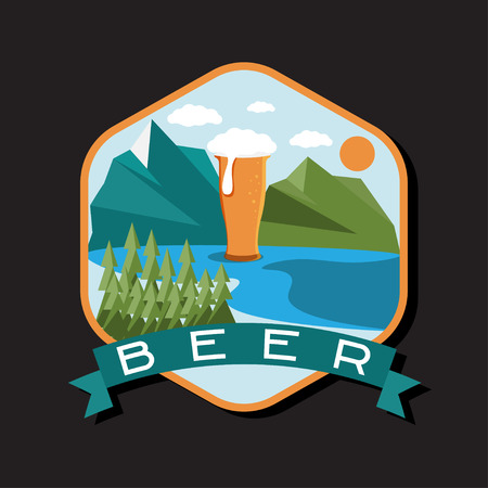 glass of beer: flat design label of beer glass with mountains Illustration