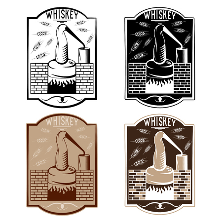 bourbon whisky: vintage vector labels of whiskey with copper whiskey still