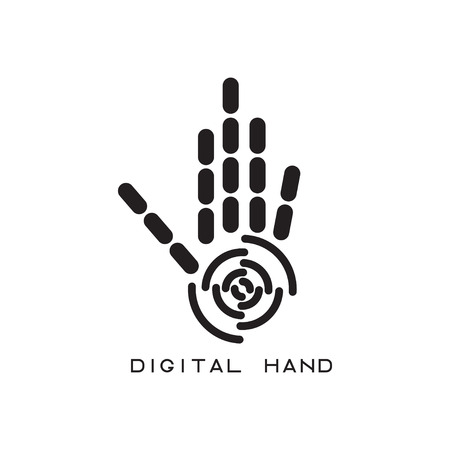 cohesion: vector illustration concept of abstract digital hand