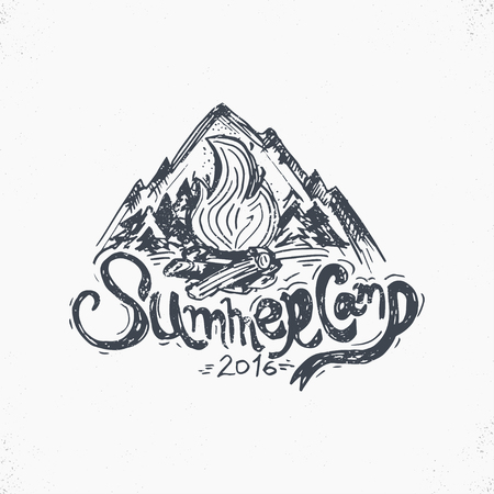 Hand-Drawn vintage lettering label with mountains, forest and sun. Vector illustration