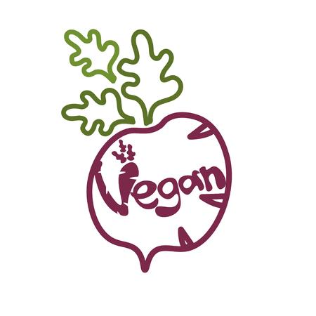 eco slogan: The radish illustration with lettering  vegan. Vector