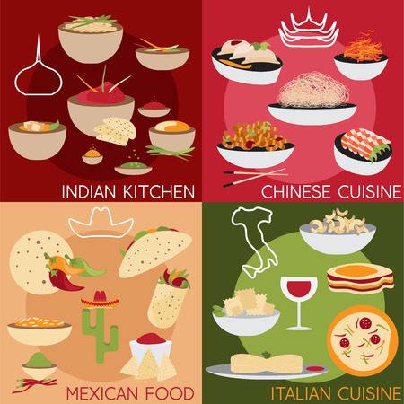 thali: flat design vector banners with italian,mexican chinese and indian food Illustration