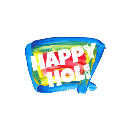 dhulandi: Illustration of abstract colorful Happy Holi badge.