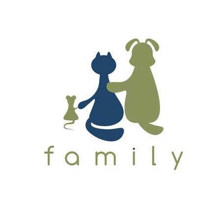 animal cruelty: dog ,cat and mouse hugging with love vector illustration Illustration