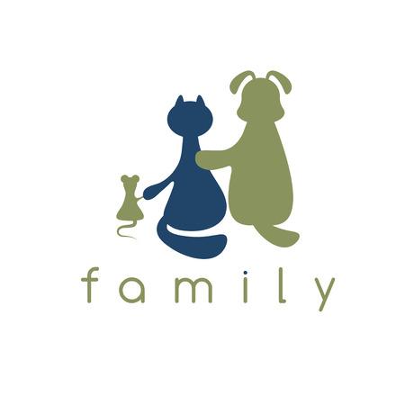 wścieklizna: pies, kot i mysz z przytulanie miłość ilustracji wektorowych Ilustracja