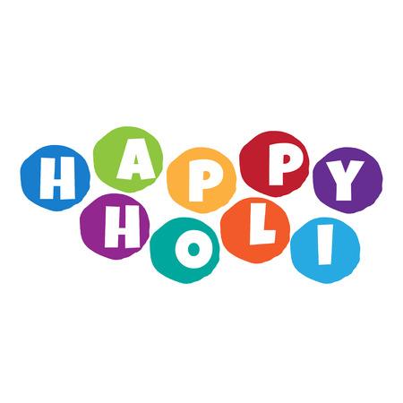 panchami: Illustration of abstract colorful Happy Holi badge.