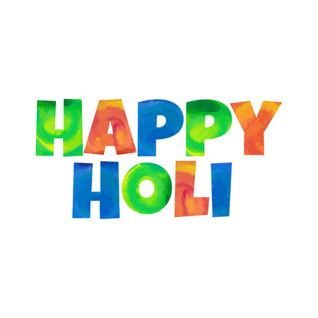 gulal: Illustration of abstract colorful Happy Holi badge.