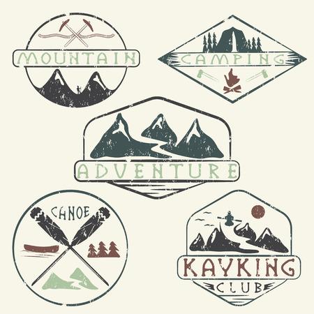kayaking, camping,climbing and adventure vintage grunge labels set Illustration