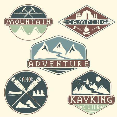extremal: kayaking, camping,climbing and adventure vintage labels set