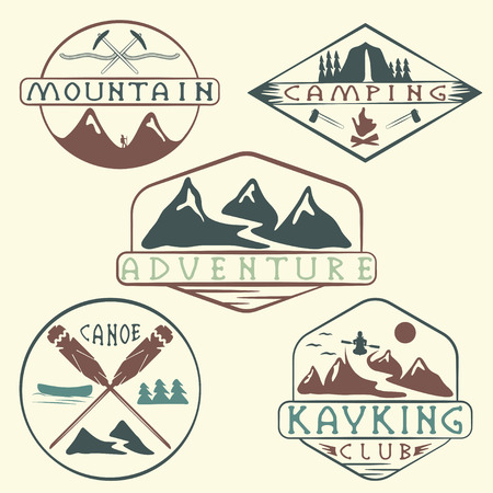 kayaking, camping,climbing and adventure vintage labels set