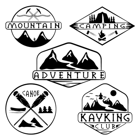 ice axe: kayaking, camping,climbing and adventure vintage labels set