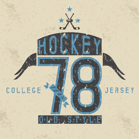 jersey city: old college vintage style print design with hockey theme