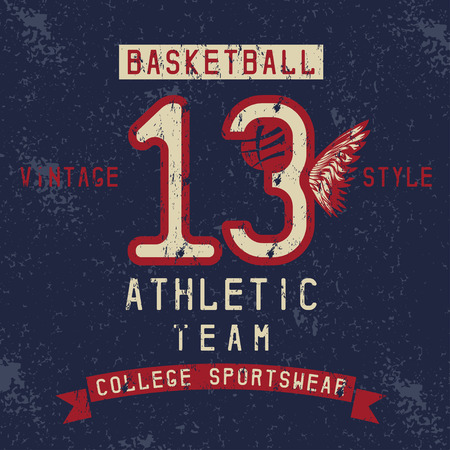 jersey city: old college vintage style print design with basketball theme