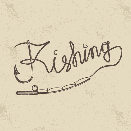 spinning: fishing grunge handwritten message with hook and spinning Illustration