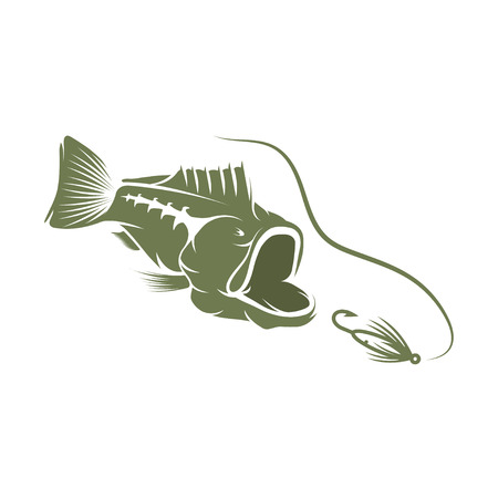 largemouth bass and lure vector design template Vektorové ilustrace