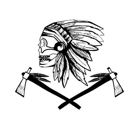 headdress: Native American chief skull in tribal headdress with tomahawks