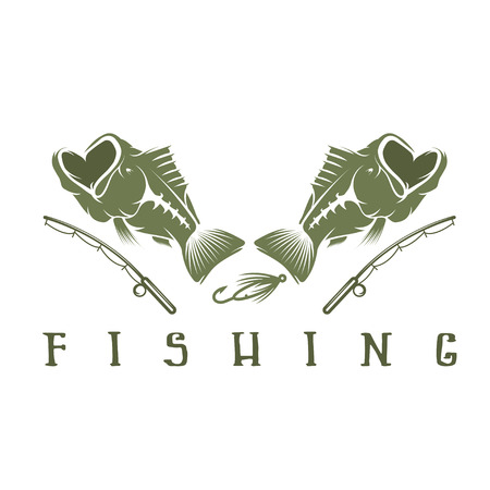 largemouth: vintage fishing vector design template with largemouth bass