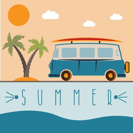 Retro-Bus mit Surfbrett Vektor-Design-Vorlage