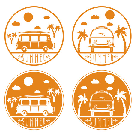 sea weeds: retro bus with surfboard vector labels set