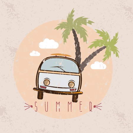 combi: retro bus with surfboard grunge vector design template