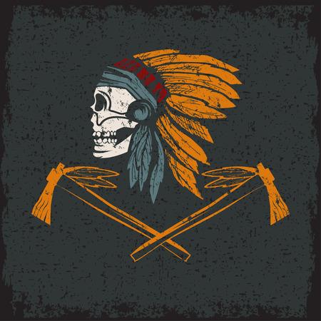 Native American Chief Schädel in Stammeskopfschmuck mit Tomahawks