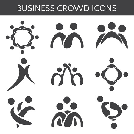 business relationship: Set of icons crowd business relationship. Vector illustration