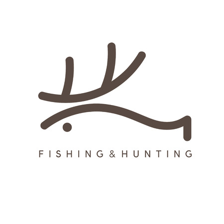horny: abstract vector design template of fishing and hunting Illustration