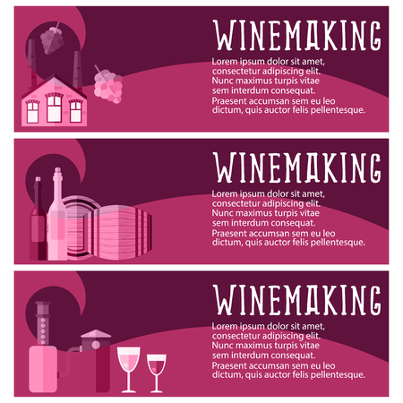 winetasting: Set of banner for winemaking industry with winemaking objects. Vector illustration