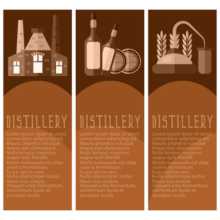 whisky bottle: Set of banner for distillery industry with distillery objects. Vector illustration