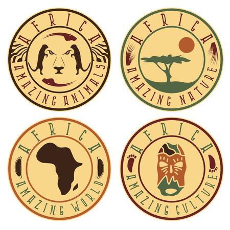 cultura étnica africana, animales y naturaleza establecer etiquetas Ilustración de vector